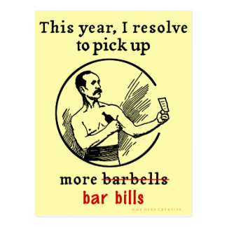Funny New Year's Resolution Retro Beer Drinker Postcard