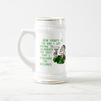 Funny New Years Retro Drinking Man with Champagne 18 Oz Beer Stein