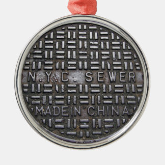 Funny New York City Sewer Humorous Novelty Photo Metal Ornament