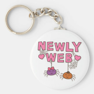 Funny Newly Wed or Web Spiders Pun Humor Keychain