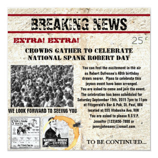 Funny Newspaper Birthday Invitation
