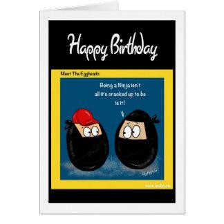 Funny Ninja cartoon gifts - eggheads by Leah Greeting Card