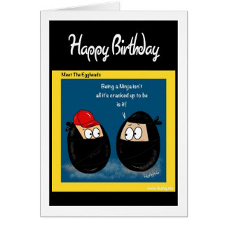 Funny Ninja cartoon gifts - eggheads by Leah Cards