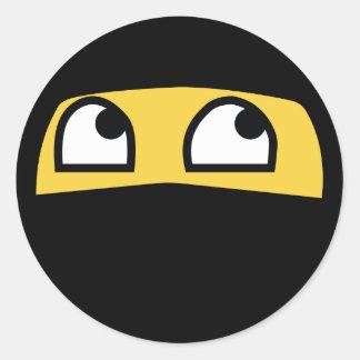 funny ninja emoji classic round sticker