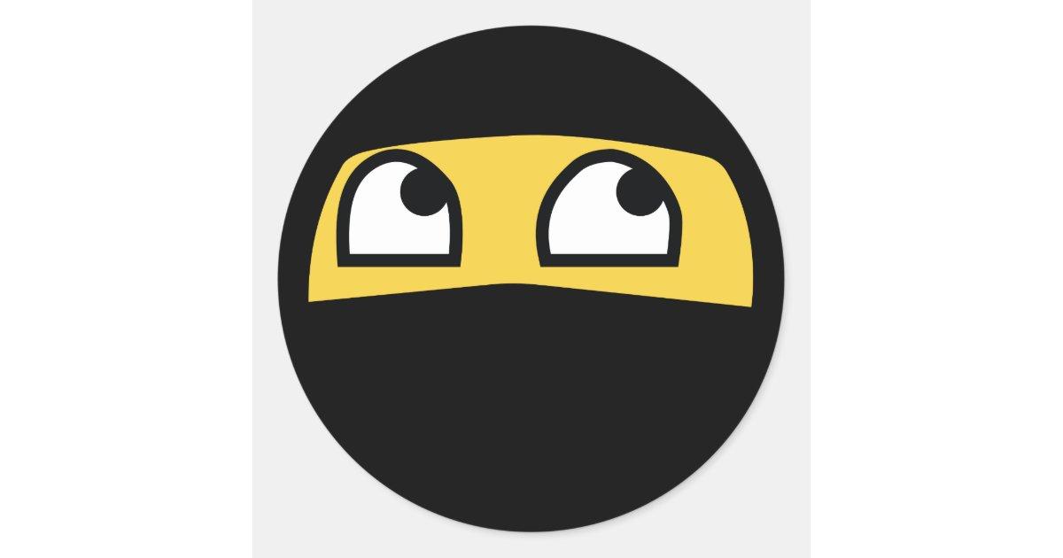 funny ninja emoji classic round sticker | Zazzle