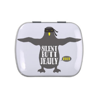 Funny ninja penguin silent but deadly fart candy tin