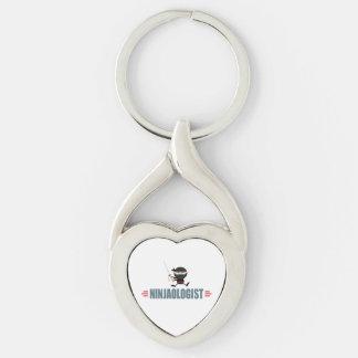 Funny Ninja Silver-Colored Heart-Shaped Metal Keychain