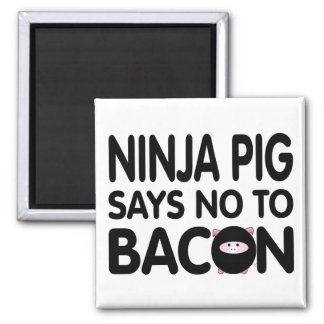 Funny Ninja Pig Says No to Bacon Magnets