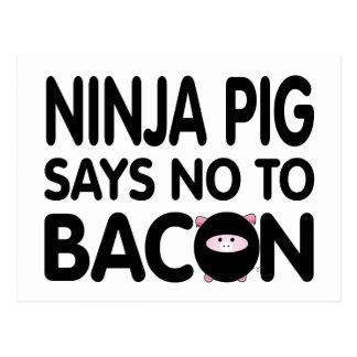 Funny Ninja Pig Says No to Bacon Postcards