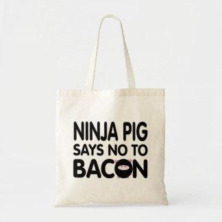 Funny Ninja Pig Says No to Bacon Tote Bag