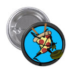FUNNY NINJA PIZZA BUTTON 1 INCH ROUND BUTTON