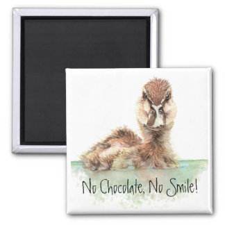Funny, No Chocolate, No Smile, Angry Duck, Bird Refrigerator Magnet