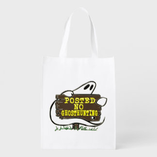 Funny No Ghost Hunting Sign Reusable Grocery Bags