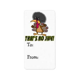 funny no jive turkey cartoon label