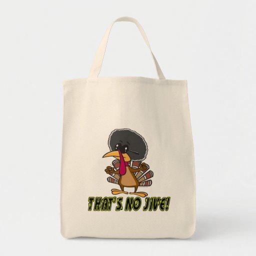 funny no jive turkey cartoon tote bags