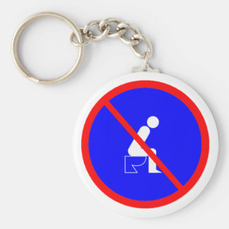 Funny No Sitting On Toilet Sign Key Chain