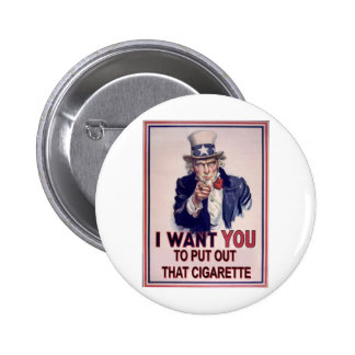 funny no smoking sign 2 inch round button