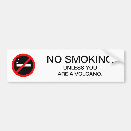 Funny no smoking sign for geologist bumper sticker