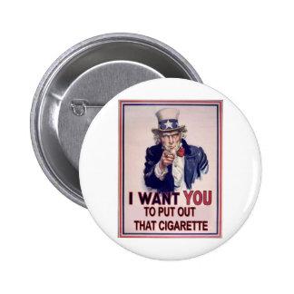 funny no smoking sign pinback button