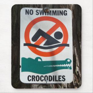 Funny NO SWIMMING Warning Sign Mouse Pad