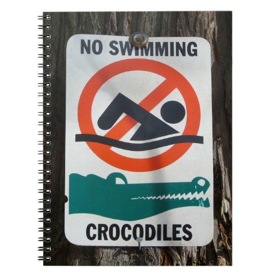 Funny NO SWIMMING Warning Sign Spiral Notebook