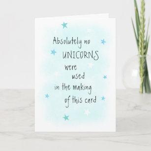 Funny NO Unicorn Images Blue Birthday Greeting Card