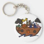 Funny Noah's Ark Cartoon Basic Round Button Keychain