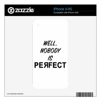 Funny Nobody is Perfect Gift iPhone 4 Decals