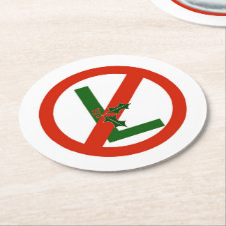 """Funny Noel """"No L"""" Christmas Paper Drinks Coasters"""