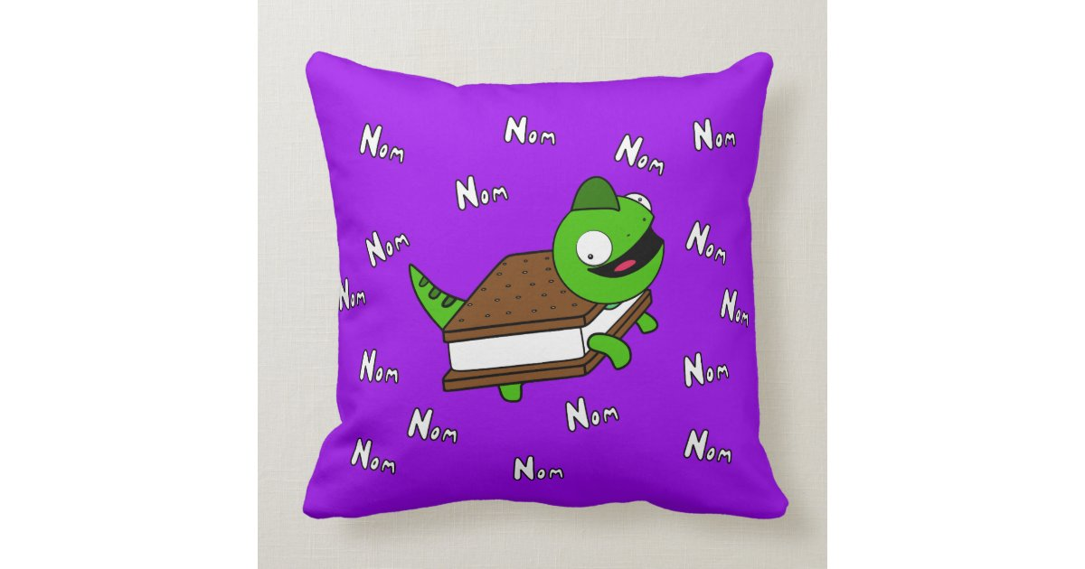 Ice Cream Throw Pillows : Funny NOM NOM Cartoon Icecream lizard Throw Pillow Zazzle