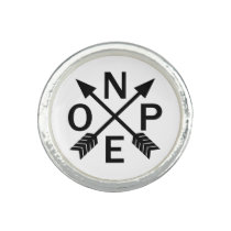 Funny Nope Typography Arrow Design Ring