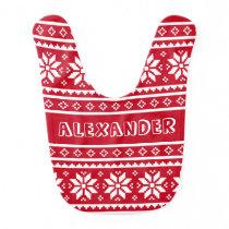 Funny nordic Christmas sweater pattern baby bib