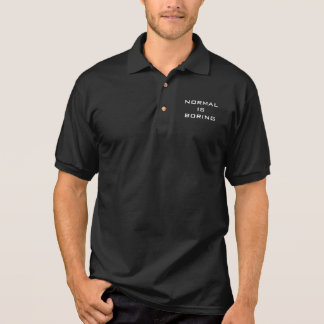 Funny Normal is Boring Black and White Hipster Polo Shirt