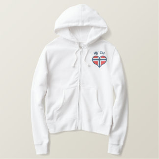 Funny Norwegian Uff Da with Heart  Flag of Norway Embroidered Hoodie