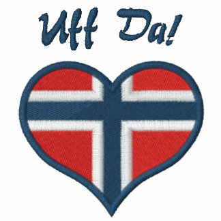 Funny Norwegian Uff Da with Heart  Flag of Norway Embroidered Hoody