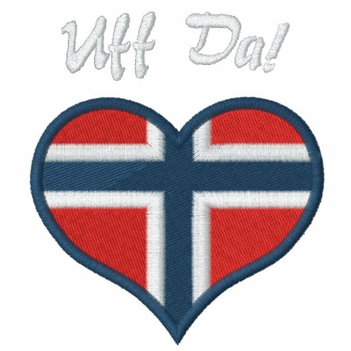 Funny Norwegian Uff Da with Heart  Flag of Norway Hoodie
