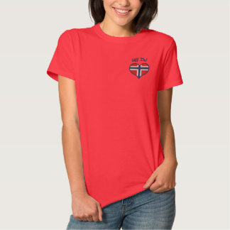 Funny Norwegian Uff Da with Heart  Flag of Norway Embroidered Shirt