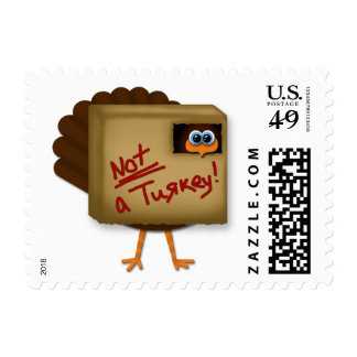 """Funny """"Not a Turkey"""" Thanksgiving Postage Stamps"""