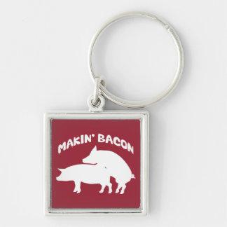 Funny novelty bacon keychain