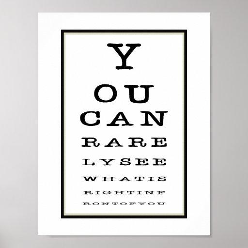 funny novelty eye test chart typography poster zazzle