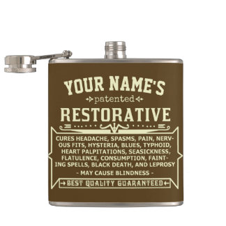 Funny Novelty Personalized Cure-All Vintage 3 Hip Flask
