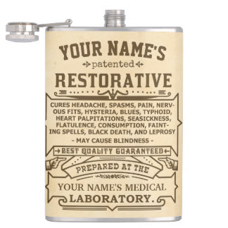 Funny Novelty Personalized Cure-All Vintage Flask
