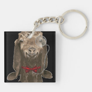 Funny Nubian Goat With Monocle Acrylic Key Chain