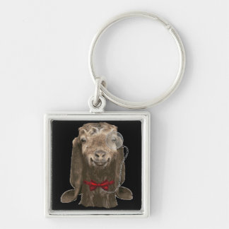 Funny Nubian Goat With Monocle Keychain