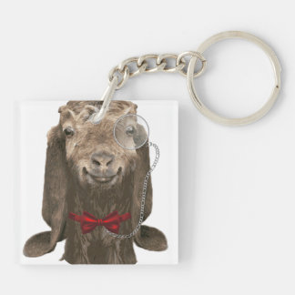 Funny Nubian Goat With Monocle Square Acrylic Key Chain