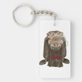 Funny Nubian Goat With Monocle Rectangular Acrylic Keychains