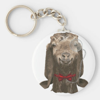Funny Nubian Goat With Monocle Keychains