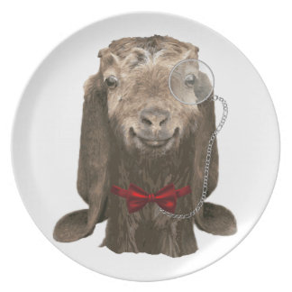 Funny Nubian Goat With Monocle Melamine Plate