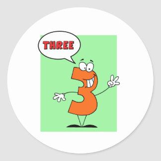 Funny Number Guy Three With Speech Bubble Classic Round Sticker