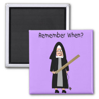 """Funny Nun Cards :Nuns Carried Rulers"""" 2 Inch Square Magnet"""